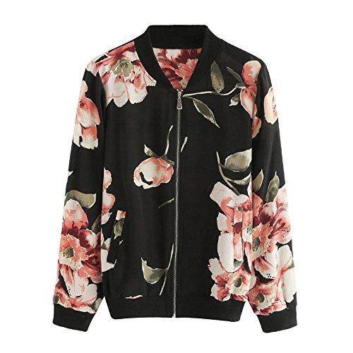 LEXUPE Frauen Mode Blumendruck Reißverschluss Bomberjacke Outwear Coat(Schwarz,X-Large)