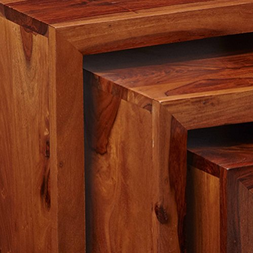 CL80 Vera Range - Sheehsam Set Of Tables - Deep Honey - Solid Indian Sheesham Hardwood - No Assembly Required