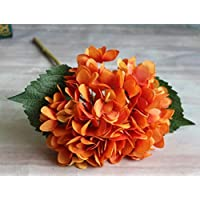 Eazyhurry Silk Artificial Orange Hydrangeas Flower for Office Decor Home Decoration Washable DIY Flowers for Wedding Bouquets Party(1 Flower)