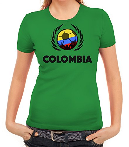 ShirtStreet Colombia Wappen Soccer Fussball WM Fanfest Gruppen Fan Wappen Damen T-Shirt Fußball Kolumbien Kelly Green