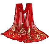 Schals & Wraps, Frauen Dame Mehrfarbige Pfau Blumen Schal Lange weiche Wrap Schal Stola Pashmina Von Dragon (Rot)