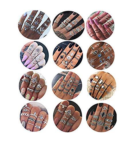 Milacolato 132 UNIDS Bohemia Knuckle Ring Set para Mujeres Hollow Silver Fashion...