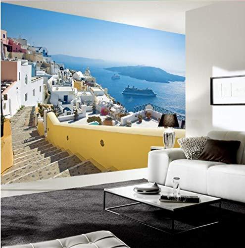 Mbambm 3D Benutzerdefinierte Foto Moderne Griechenland Ägäis Burg Landschaft Wandbild Tapete Rolle Wand-Dekor Tv Hintergrund Wohnzimmer Leinwand-350X250CM