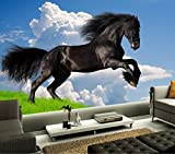 Yosot Custom 3D Wandbilder Pferde Schwarze Tiere Hotel Restaurant Bar Wohnzimmer Sofa Tv Wand Kinderzimmer Tapete-200Cmx140Cm