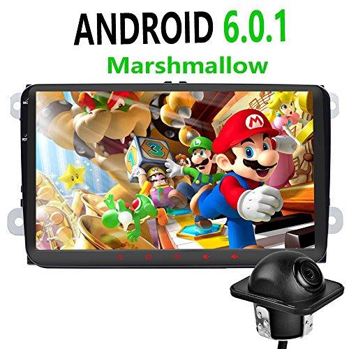 Foiioe Autoradio Garniture pour VW SEAT SKODA Jetta Passat Polo de golf avec Android 6.0.1I I de navigation GPS 22,9cm 1280* 720écran tactile capacitif I support WIFI I Bluetooth I4gi 3GI USB Potti mémoire interne de 16Go I 2DIN