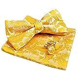 Alizeal Herren Paisley Fliege, Einstecktuch, Manschettenknöpfe Set (Gelb)