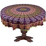 Rangrez Art & Handicrafts 4-Seater 100% Cotton Round,Table Cover Size:65 Inch Round (Pom-Pom Lace Multi Color) Purple/Green
