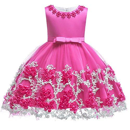 Baby Mädchen Prinzessin Geburtstag Taufe Bowknot Kleid Kinder Blumen Spitze Tüll Halloween Weihnachten Karneval Party Hochzeit Brautjungfer Kommunion Tanz Ballkleid Festzug Kurzes Kleid Heißes Rosa