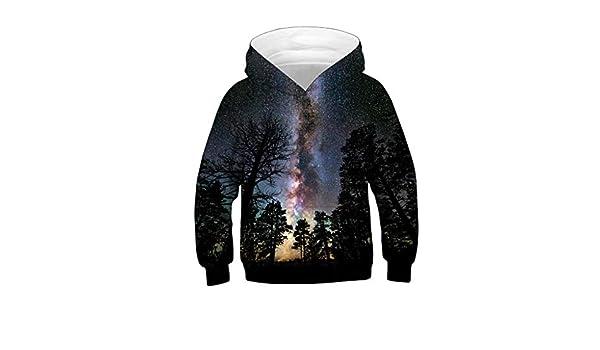 HEETEY Teen Kids Girl Boy Galaxy Fleece Print Cartoon Sweatshirt Pocket Pullover Hoodie Children Baby Sweatshirt Pockets Hooded