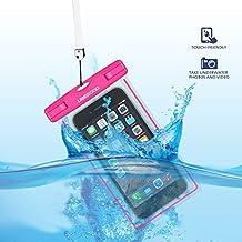 Ubegood Impermeable Bolsa IPX8 Certificado funda impermeable móvil para iPhone SE, iPhone 6/6s/plus,Samsung Galaxy S7/S6/S5,S7 Edge,LG, y otro hasta 5.9 pulgadas Smartphones (Rosa)