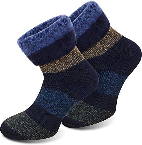 3 Paar Thermo-Kniestrümpfe oder Thermo-Socken von POLAR HUSKY mit Vollplüsch und Schafwolle / Sehr warm! / Perfekt für Stiefel geeignet. / Nie wieder kalte Füße! Farbe Extrem/Hot/Blau-Block gestreift Größe 47-50
