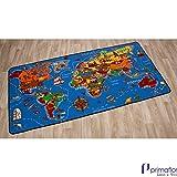 Kinderteppich Spielteppich - Weltkarte - 1,30 x 2,00