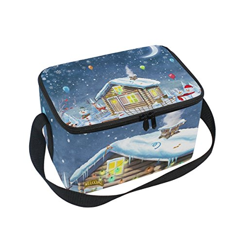 tizorax Frohe Weihnachten und Happy New Year Hintergrund Isolierte Lunchtasche Lunchbox Cooler Tasche für Männer Frauen Kinder