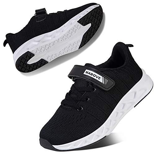 Kyopp Laufschuhe Kinder Turnschuhe für Mädchen Jungen Sportschuhe Kinderschuhe Outdoor Sneakers Klettverschluss Atmungsaktiv Unisex(2#Black 36 EU)