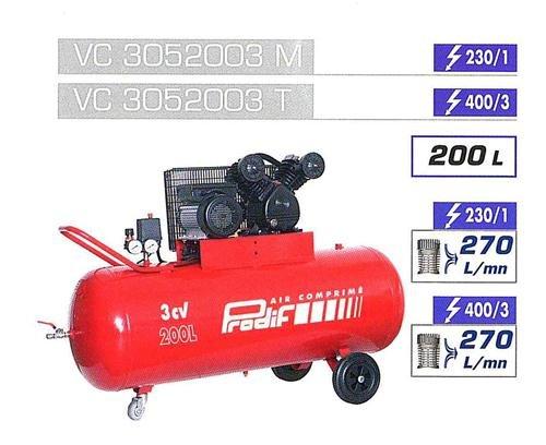 Compresseur courroie bi-cylindre v 200 l 3 cv PRODIF - vc3052003m