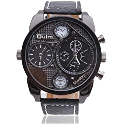 OverSized Mens Dual Time Zone Military Army Sport Quartz Wrist Watches Black