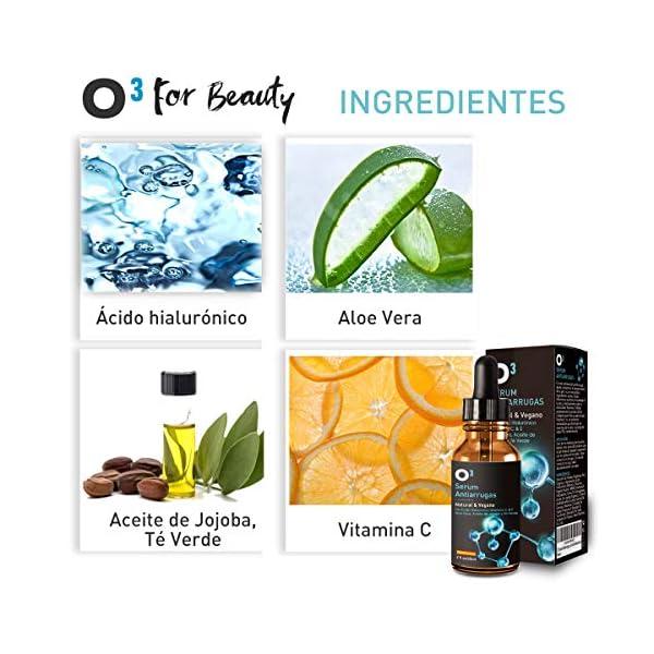 O³ Serum Acido Hialuronico 100% Puro – 60 ml For Beauty – Vegano | Serum Antiarrugas Mujer Y Hombre Con Vitamina C, E, Aloe Vera, Aceite De Jojoba, Te Verde|Serum Facial Vitamina C y Ácido Hialurónico