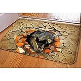 TUOKING schreckliche Dinosaurier Fußmatte Bodenmatte weichen Flanell Rutschfeste Eingang Teppich, 23,2