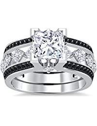 Silvernshine 10K White Gold PL Black Sim Diamonds Interchangable Ladies Special Engagement Ring