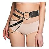 KELAND Damen Punk-Stil Harness Taillengürtel Gürtel Schwarz Nachtclub Leder Bekleidung (Schwarz 3)