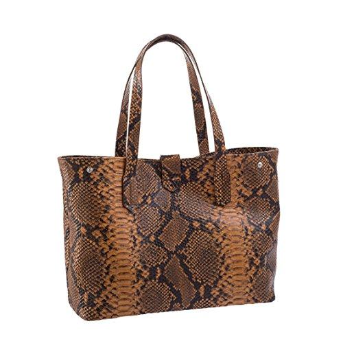 Borsa/shopper a spalla made in italy - pelle stampata pitone - chiusura con calamita e tasche interne Rame
