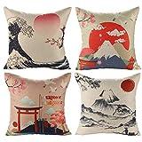 JOTOM Fodera per Cuscino Giapponese Mt. Fuji Ukiyo-e Divano Federa in Cotone e Lino Divano Letto per casa Auto 45 x 45 cm, Set di 4 (Stile Giapponese B)