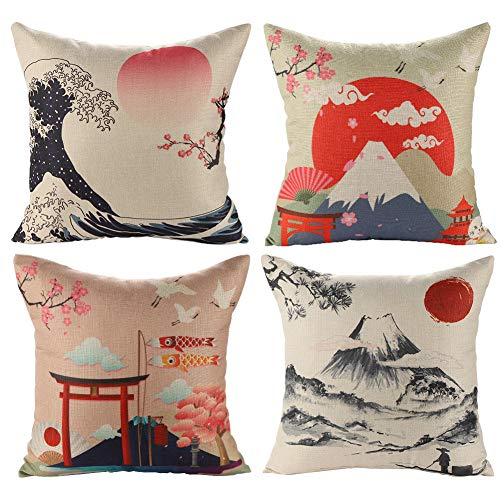 jotom fodera per cuscino giapponese mt. fuji ukiyo-e in cotone e lino federa per divano famiglia soggiorno camera da letto decorazione, 45x45cm, set di 4 pezzi(stile giapponese b)