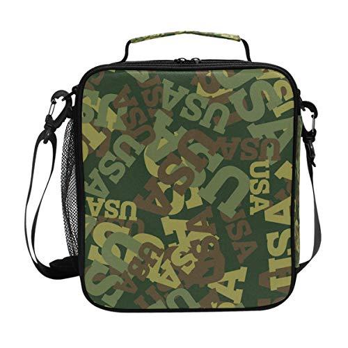 ISAOA 5,6 Liter Lunchtasche, isolierte Kühltasche, Schule, Picknick, wasserdicht, leicht, Militär-Tarnmuster, USA Lunchbox für einfaches Tragen mit verstellbarem Gurt