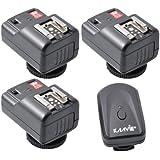 Kaavie - Ishoot - Channel 4 PT-04-Déclencheur de flash à distance 20 m pour Nikon Canon Pentax Olympus Blitz (1 gâchette et 3 récepteurs fixés)