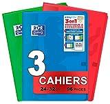 OXFORD EasyBook Lot de 3 Cahiers Agrafés Grands Formats 24 x 32cm 96 Pages Grands Carreaux Seyès 90gr Couleurs Assorties