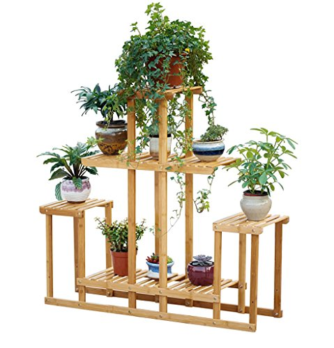 JAZS® Porte-fleurs, bambou Couches multiples salon balcon Plancher Bonsai cadre Étagères couleur primaire 103 * 25 * 92cm protection de l'environnement raffinée