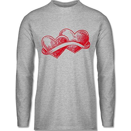 Romantisch - Doppelherz Liebe - Longsleeve / langärmeliges T-Shirt für Herren Grau Meliert