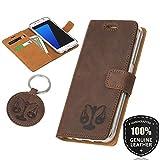 SURAZO Waage - Premium Vintage Ledertasche Schutzhülle Wallet Case aus Echtesleder Nubukleder Farbe Nussbraun für Samsung Galaxy S6
