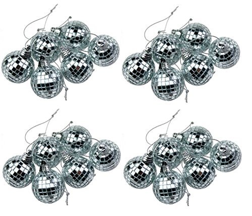 24 Silver Mini Disco Mirror Ball Christmas Tree Bauble Home Party Decoration Gift Fun Room Craft Frozen by Concept4u