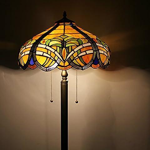 Creativo hecho a mano del vitral de Tiffany Tiffany Lámpara de pie de 16 pulgadas amarillo Magnolia Europea Estilo Pastoral Elegante Lujo
