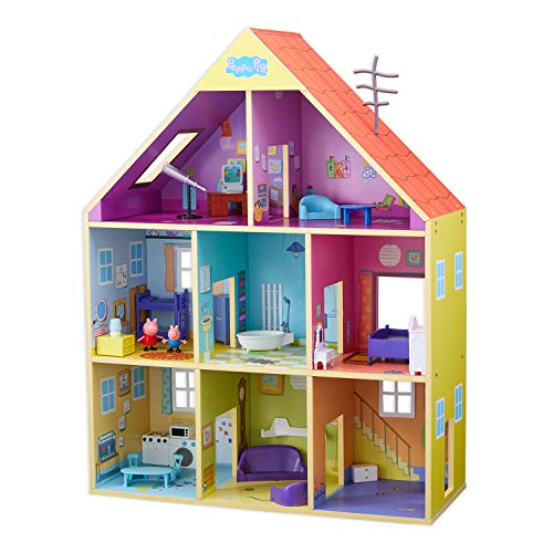 Peppa pig- casa gigante in legno, multicolore (bandai co07004)