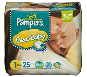 PAMPERS Couches New Baby Taille 1 newborn (2-5 kg) - Paquet 1 x 25 couches