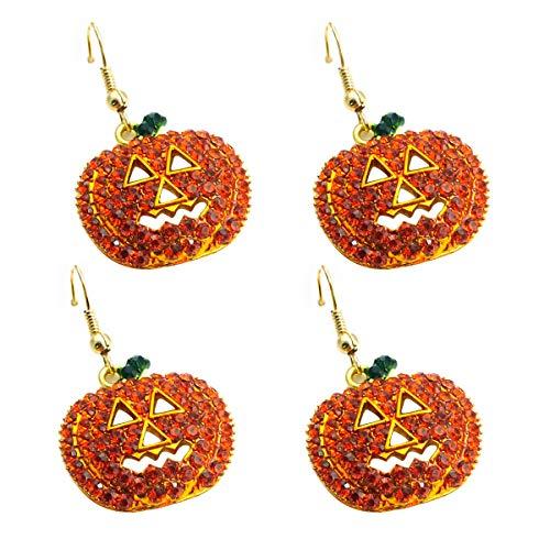 Kürbis Ohrringe Strass Ohrringe Halloween Ohrringe für Frauen 2 Paare