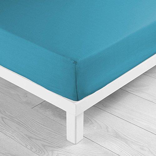 Douceur d'interieur - lenzuolo con angoli elasticizzati, conta fili: 57, colore: azzurro