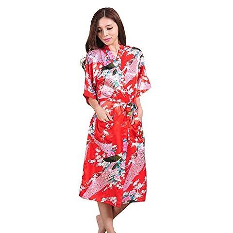 Honeystore Damen lange Kimonos für Damen Bademantel aus Satin mit Pfau und Blüten Morgenmantel Robe Schlafanzug Rot XXL