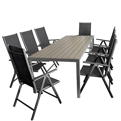 Ensemble de jardin table de jardin aluminium polywood gris, 205x90cm + 8x chaise pliable textile aluminium noir anthracite 7 positions de réglage