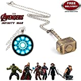 (2 Pcs AVENGER SET) - IRON MAN ARC REACTOR SILVER (SLV2) 3D GLASS DOME PENDANT & THOR HAMMER (GOLD COLOUR) IMPORTED PENDANT WITH CHAIN. LADY HAWK DESIGNER SERIES 2018. ❤ LATEST ARRIVALS - NOW ON SALE IN AMAZON - RINGS, KEYCHAINS, NECKLACE, BRAC