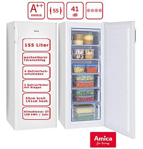 Amica Gefrierschrank Weiß Tiefkühltruhe A++ 155 Liter | 4 Schubalden und 2 Fächer | 141 cm hoch 55 cm breit | GS 324 100 W