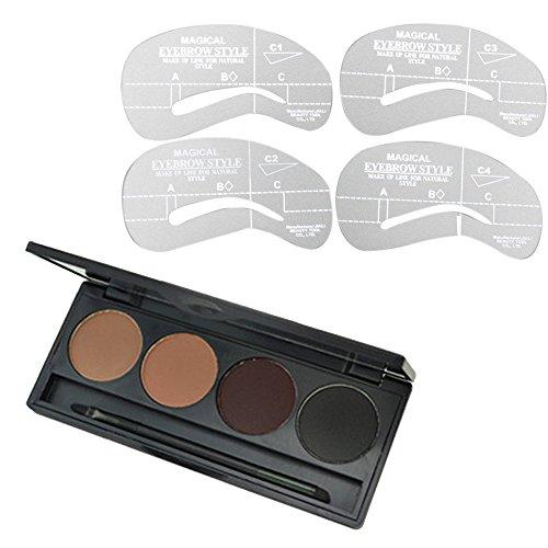 Fard Poudre à Sourcils Eyebrow Ombre 4 Couleurs avec Brosse Maquillage et Pochoirs Sourcils