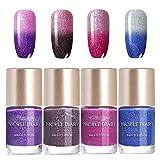 NICOLE DIARY Smalto per unghie Set per cambiare colore Lacca per unghie Glitter in polvere Termico per vernice Starter Kit Manicure Nail Art 9ml