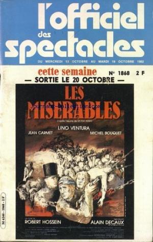 OFFICIEL DES SPECTACLES [No 1868] du 13/10/1982 - LES MISERABLES