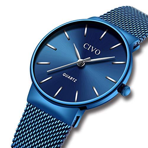 CIVO Damen Uhren Silm Minimalistisch Wasserdicht Armbanduhren Frauen Mädchen Mode Kleid Elegant Luxus Beiläufig Quarzwerk Damenuhr mit Edelstahl Mesh Band (1 Blaues)
