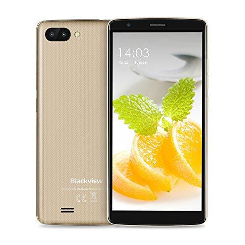 Blackview A20 Smartphone Ohne Vertrag (5.5 Zoll 18:9 Full HD), 3000mAh große Akku, 8GB Speicher(TF Karte 32GB) Android GO Handy Ohne Vertrag, 5MP Dual Sony Kamera, Dual SIM-Free Smartphone Gold