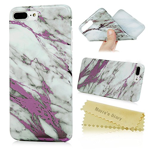Mavis's Diary Coque iPhone 7 Plus Étui Housse Bumper Coque de Protection TPU Silicone Gel Coque Marbre Antichoc Ultra Mince Léger Souple Flexible Portable Douce Phone Case Cover + Chiffon - Noir or Gris rose
