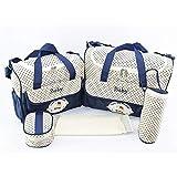 QuYiShenYiShiFuZhuang Große Kapazitäts-Mama-Beutel 5pcs / Set Multifunktions Mode Enten Prints Schultertasche Handtasche für schwangere Frauen - Marine-Blau
